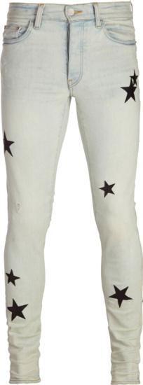 Amiri Black Leather Star Patch Light Jeans