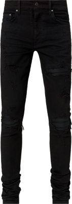 Amiri Black Leather Underpatch Distressed Jeans