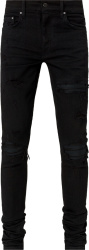 Black Leather Underpatch 'MX1' Jeans