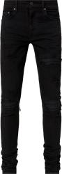 Black Leather Underpatch Black 'MX1' Jeans