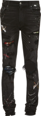 Amiri Black Paint Splatter And Art Patch Jeans