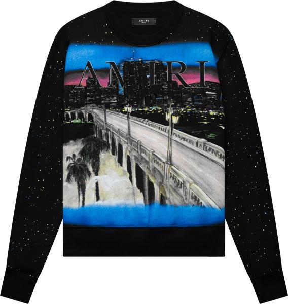 Amiri Black Painted City Logo Sweatshirt