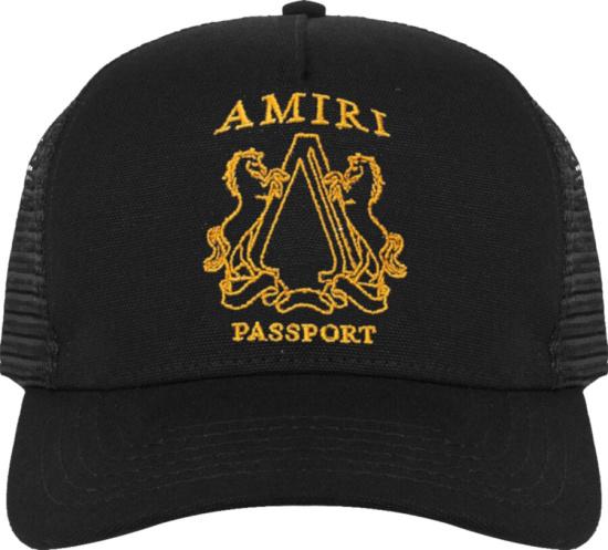 Amiri Black Passport Trucker Hat