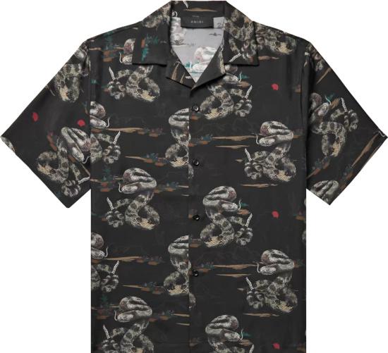 Amiri Black Rattlesnake Print Shirt