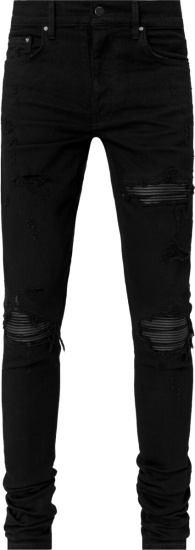 Amiri Black Ribbed Leather Underpatch Mx1 Jeans