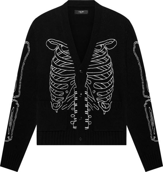 Amiri Black Skeleton Jacquard Cardigan