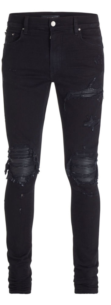 Amiri Black Skinny Jeans With Black Leather Underpatches