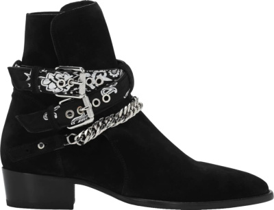 Amiri Black Suede Bandana Buckle Boots