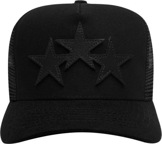 Amiri Black Three Star Trucker Hat