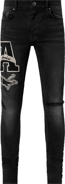 Amiri Black Varsity Patch Ripped Jeans