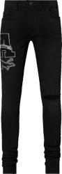 Amiri Black Varsity Patch Slit Jeans