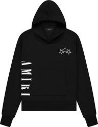 Amiri Black Vertical Logo And Three Star Print Hoodie