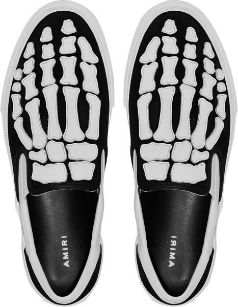Amiri Black White Bones Skeleton Slip On Sneakers