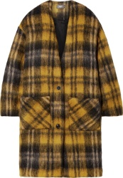 Amiri Black Yellow Check Mohair Coat