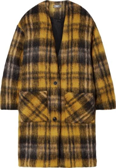 Amiri Black Yellow Check Mohair Coat