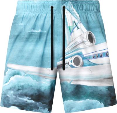 Amiri Blue Airplane Print Swim Shorts