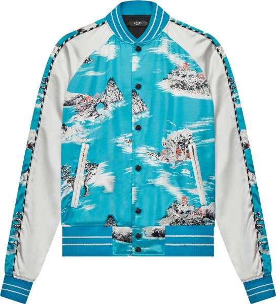 Amiri Blue And White Hawaiian Print Bomer Jacket