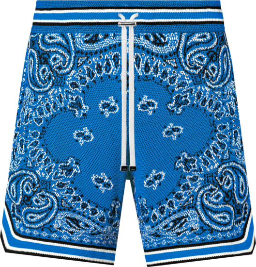 Amiri Blue Bandana Crochet Shorts