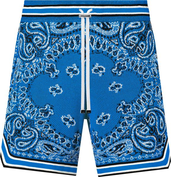 Amiri Blue Bandana Crochet Shorts