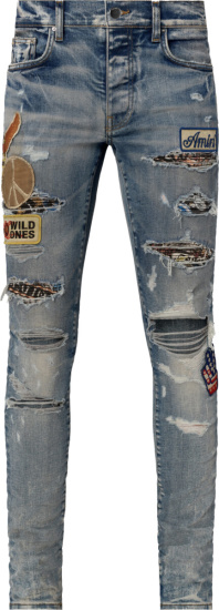 Amiri Blue Biker Patch Jeans