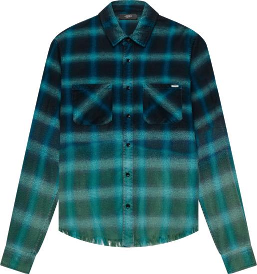 Amiri Blue Bleached Check Frayed Shirt
