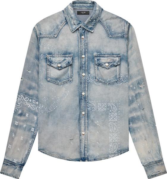 Amiri Blue Denim Bandana Print Shirt