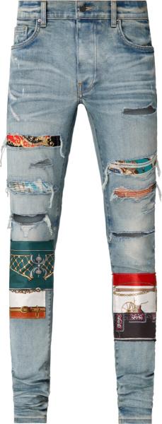 Amiri Blue Denim Scarves Art Patch Jeans