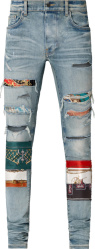 Amiri Blue Denim Scarves Art Patch Jeans