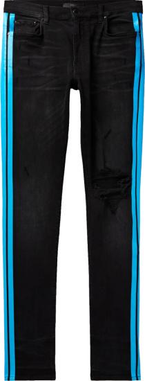 Amiri Blue Side Stripe Distressed Black Jeans
