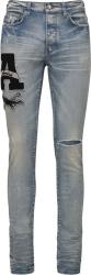 Amiri Blue Varsity Patch Broken Jeans