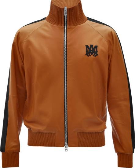 Amiri Brown Leather And Black Stripe Ma Logo Track Jacket