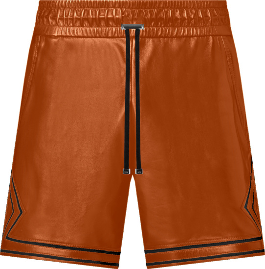Amiri Brown Leather And Black Trim Boxing Shorts