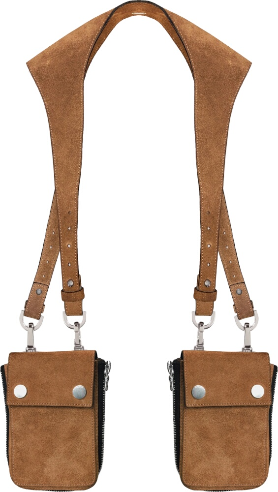 Amiri Brown Leather Harness Bag
