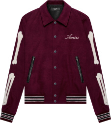 Amiri Burgundy Skeleton Embroidered Teddy Jacket