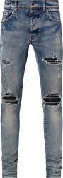 Amiri Clay Indigo And Black Suede Underpatch Mx1 Jeans