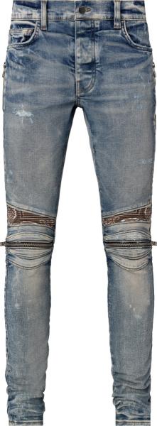 Amiri Clay Indigo And Brown Bandana Mx2 Jeans