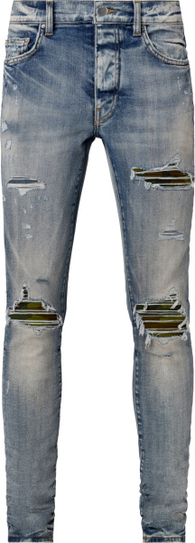 Amiri Clay Indigo And Camouflage Underpatch Mx1 Jeans