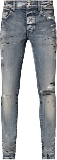 Amiri Clay Indigo And Hand Painted Slit Jeans