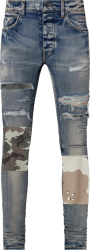 Amiri Clay Indigo And Military Art Patch Jeans