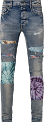Amiri Clay Indigo And Multicolor Tie Dye Art Patch Jeans