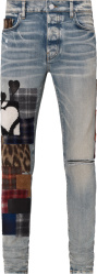 Amiri Clay Indigo And Multistyle Flannel Art Patch Jeans