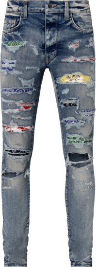 Amiri Clay Indigo And Rainbow Underpatch Jeans