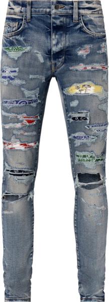 Amiri Clay Indigo And Rainbow Underpatch Jeans