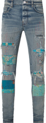 Amiri Clay Indigo And Vintage Quilt Art Patch Jeans