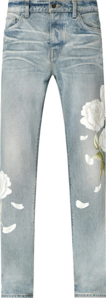 Amiri Clay Indigo And White Flower Painted Jeans