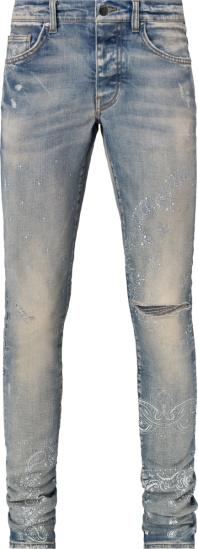Amiri Clay Indigo Bandana Print Slit Knee Jeans