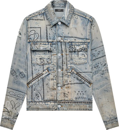Amiri Clay Indigo Bandana Screen Print Denim Jacket