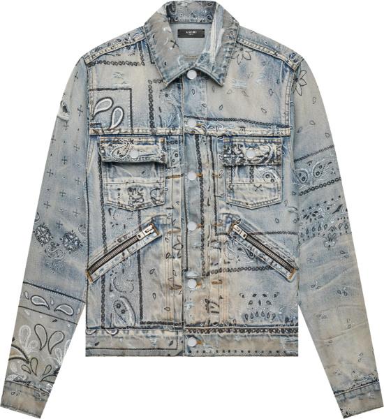 Amiri Clay Indigo Bandana Screen Print Denim Jacket