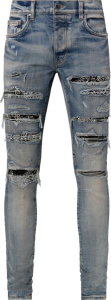 Amiri Clay Indigo Black Bandana Thrash Jeans