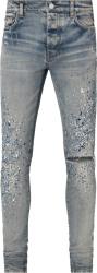 Amiri Clay Indigo Crystal Paint Splatter Jeans